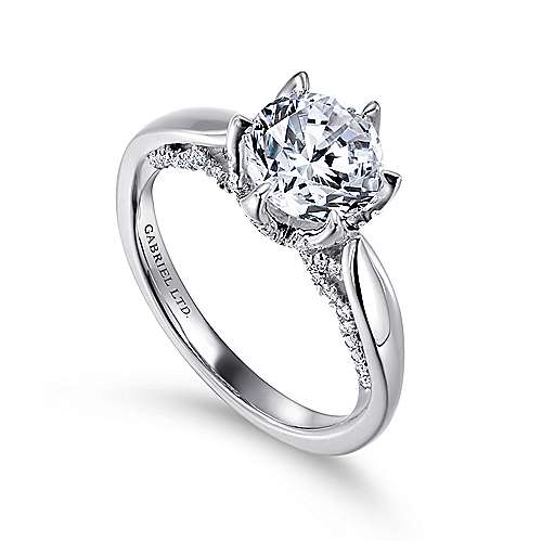 Hortensia 18k White Gold Round Straight Engagement Ring angle 3