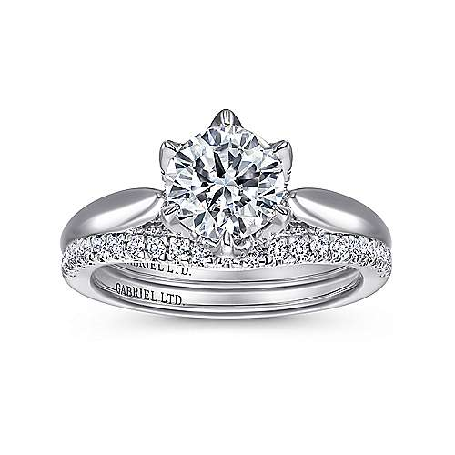 Hortensia 18k White Gold Round Straight Engagement Ring angle 4