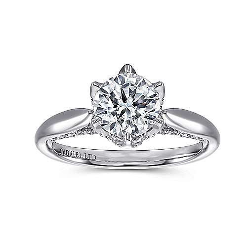 Hortensia 18k White Gold Round Straight Engagement Ring angle 5