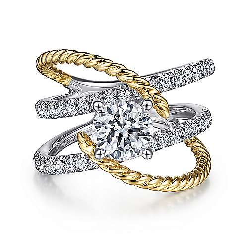 Hudson 14k Yellow And White Gold Round Split Shank Engagement Ring angle 1