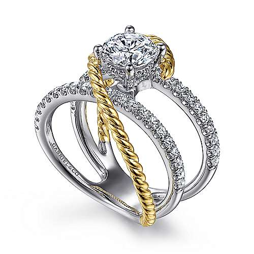 Hudson 14k Yellow And White Gold Round Split Shank Engagement Ring angle 3