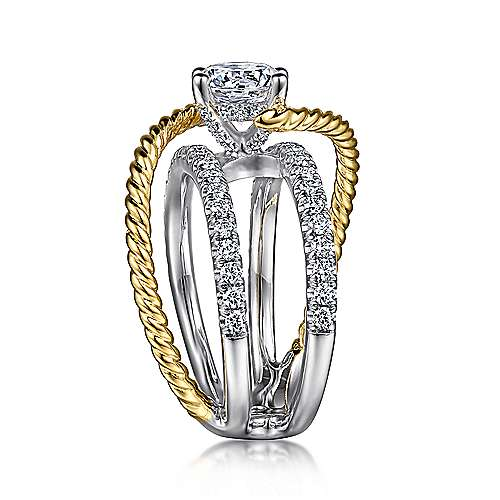 Hudson 14k Yellow And White Gold Round Split Shank Engagement Ring angle 5