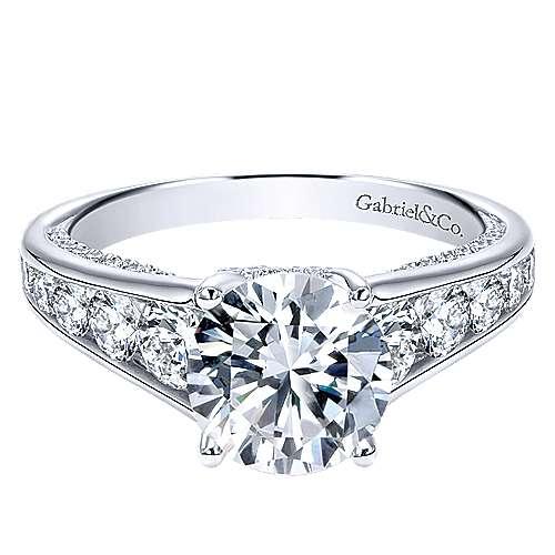 Gabriel - Hula 18k White Gold Round Straight Engagement Ring
