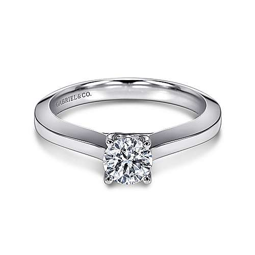 Hunter 14k White Gold Round Solitaire Engagement Ring angle 1