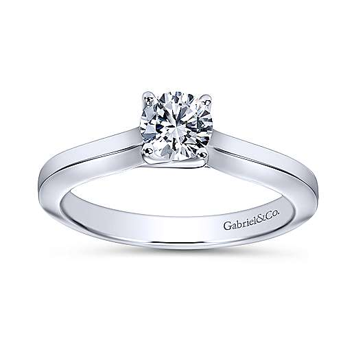 Hunter 14k White Gold Round Solitaire Engagement Ring angle 5