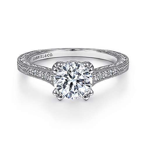 Gabriel - Hutton 14k White Gold Round Straight Engagement Ring