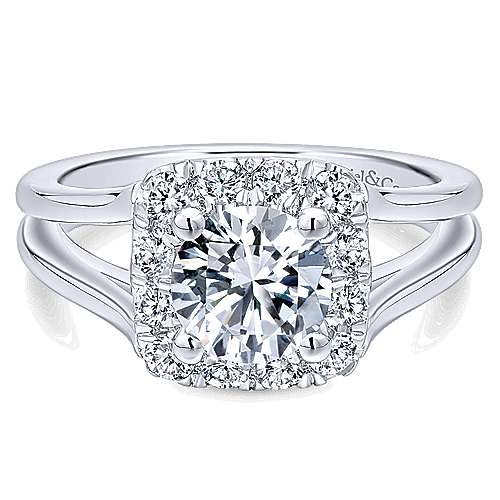 Gabriel - Hydrangea 14k White Gold Round Halo Engagement Ring