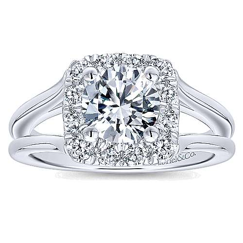 Hydrangea 14k White Gold Round Halo Engagement Ring