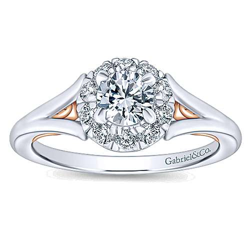 Idol 14k White And Rose Gold Round Halo Engagement Ring