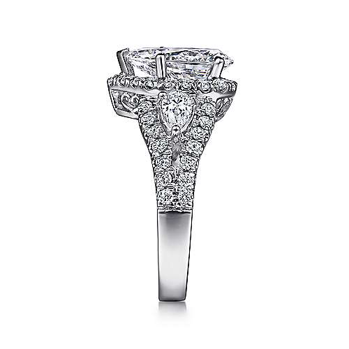 Ilona 14k White Gold Pear Shape 3 Stones Halo Engagement Ring angle 4