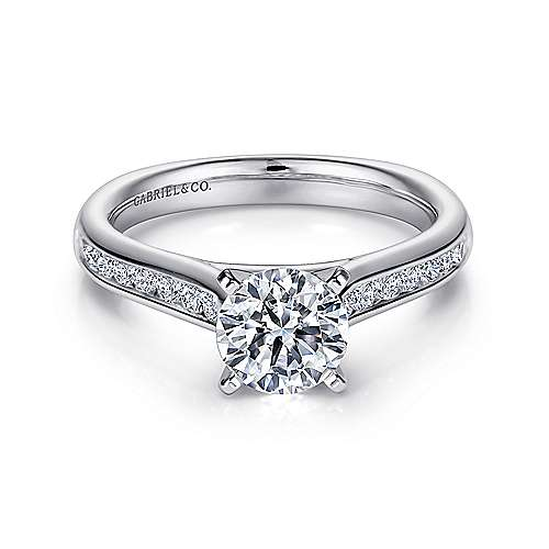 Gabriel - Imogen 14k White Gold Round Straight Engagement Ring