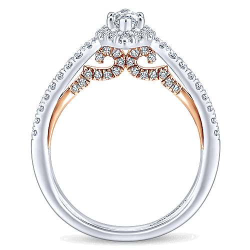 Imperial 14k White And Rose Gold Marquise  Halo Engagement Ring angle 2