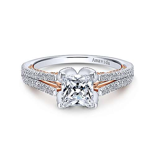 Gabriel - Indie 18k White And Rose Gold Princess Cut Split Shank Engagement Ring