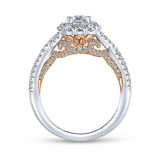 Indigo 14k White And Rose Gold Emerald Cut Double Halo Engagement