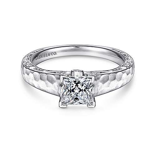 Gabriel - Indy 14k White Gold Princess Cut Solitaire Engagement Ring