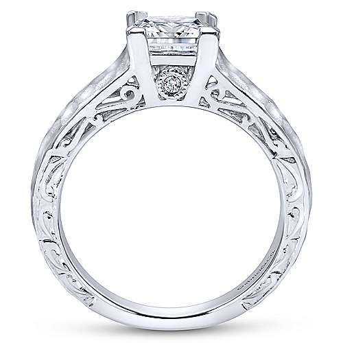 Indy 14k White Gold Princess Cut Solitaire Engagement Ring angle 2