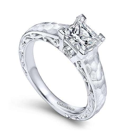 Indy 14k White Gold Princess Cut Solitaire Engagement Ring angle 3