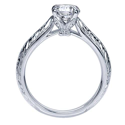 Ines 14k White Gold Round Straight Engagement Ring angle 2