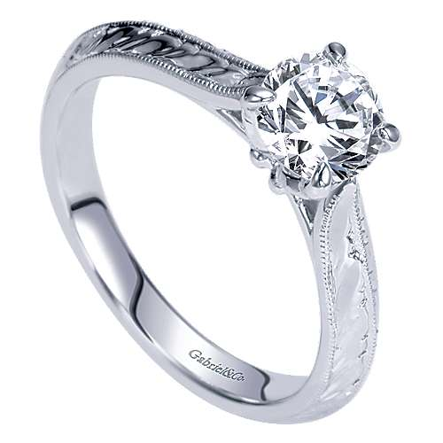 Ines 14k White Gold Round Straight Engagement Ring angle 3