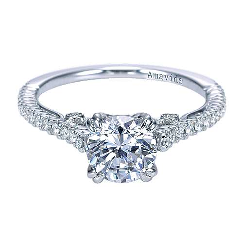 Gabriel - Ingrid 18k White Gold Round Straight Engagement Ring