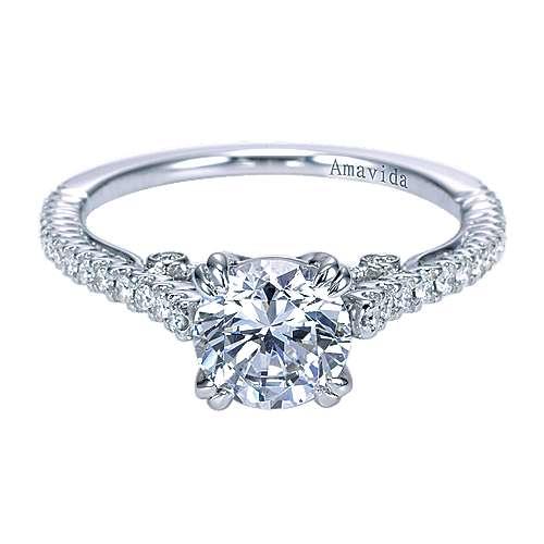 Ingrid 18k White Gold Round Straight Engagement Ring angle 1