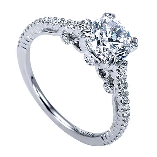 Ingrid 18k White Gold Round Straight Engagement Ring angle 3