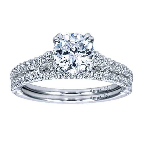 Ingrid 18k White Gold Round Straight Engagement Ring angle 4
