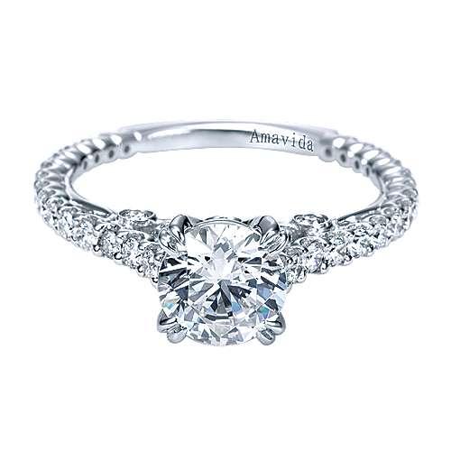 Gabriel - Ingrid 18k White Gold Round Straight Engagement Ring