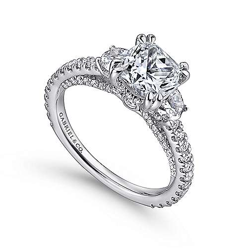 Innocence 18k White Gold Cushion Cut 3 Stones Engagement Ring angle 3