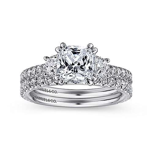 Innocence 18k White Gold Cushion Cut 3 Stones Engagement Ring angle 4