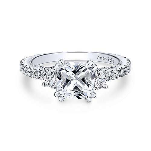 Gabriel - Innocence Platinum Cushion Cut 3 Stones Engagement Ring