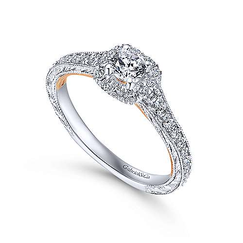 Ioni 14k White And Rose Gold Round Halo Engagement Ring angle 3