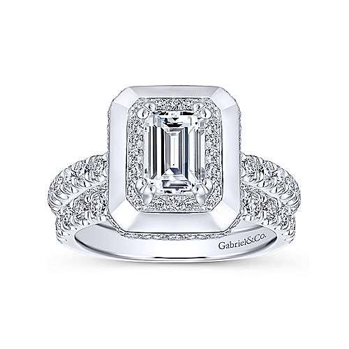 Irene 18k White Gold Emerald Cut Halo Engagement Ring angle 4