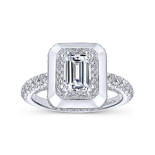 Irene 18k White Gold Emerald Cut Halo Engagement Ring angle 5