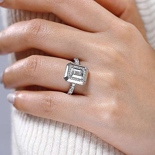 Irene 18k White Gold Emerald Cut Halo Engagement Ring angle 6