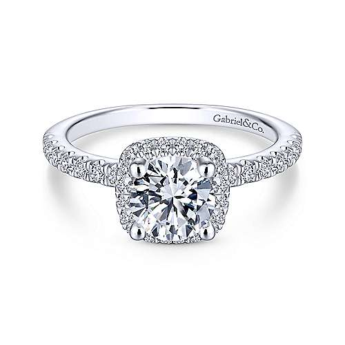 Gabriel - Irina 14k White Gold Round Halo Engagement Ring
