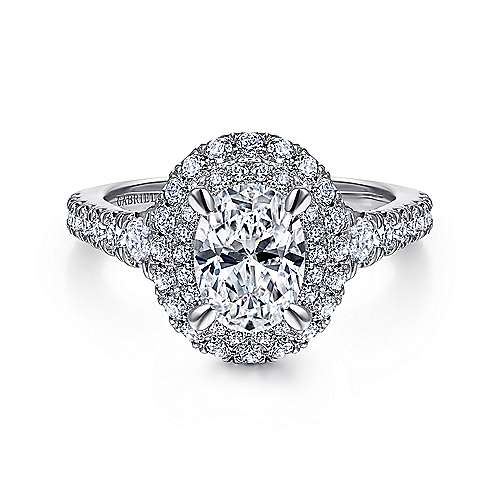 Gabriel - Iris 14k White Gold Oval Double Halo Engagement Ring