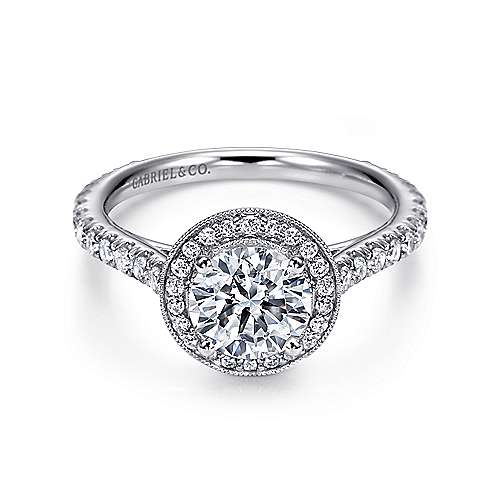Gabriel - Ivanna 14k White Gold Round Halo Engagement Ring