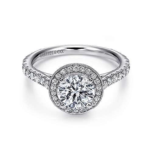 Gabriel - Ivanna 14k White Gold Round Halo Engagement Ring
