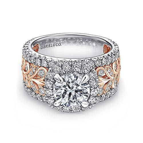 Gabriel - Ivet 14k White And Rose Gold Round Halo Engagement Ring