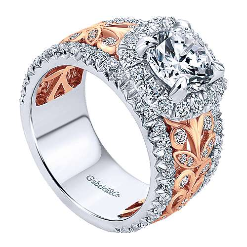Ivet 18k White And Rose Gold Round Halo Engagement Ring angle 3