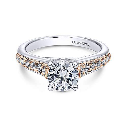 Gabriel - Ivis 14k White And Rose Gold Round Straight Engagement Ring