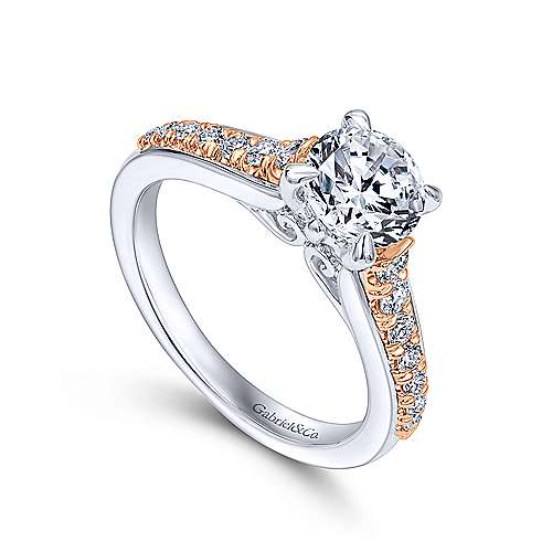Ivis 14k White And Rose Gold Round Straight Engagement Ring angle 3