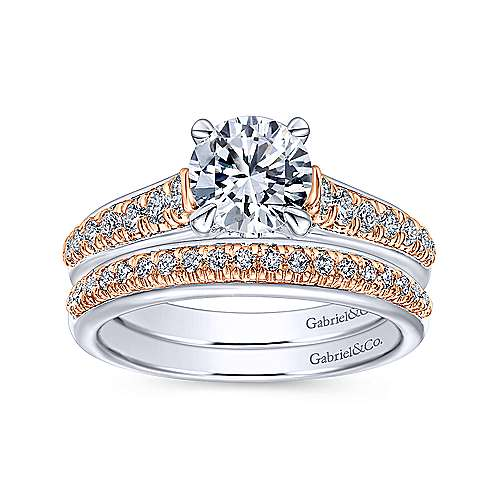 Ivis 14k White And Rose Gold Round Straight Engagement Ring angle 4
