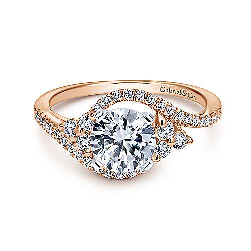 Izzie 14k White And Rose Gold Round Bypass Engagement Ring angle 1