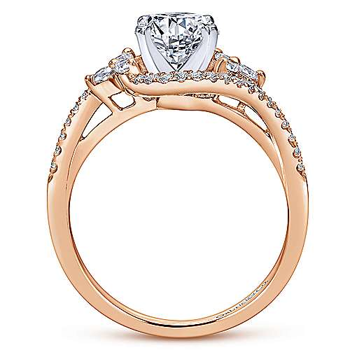 Izzie 14k White And Rose Gold Round Bypass Engagement Ring angle 2