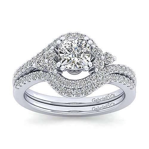Izzie 14k White Gold Cushion Cut Bypass Engagement Ring angle 4