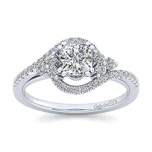 Izzie 14k White Gold Cushion Cut Bypass Engagement Ring angle 5