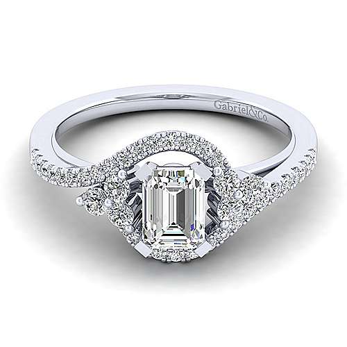 Izzie 14k White Gold Emerald Cut Bypass Engagement Ring angle 1