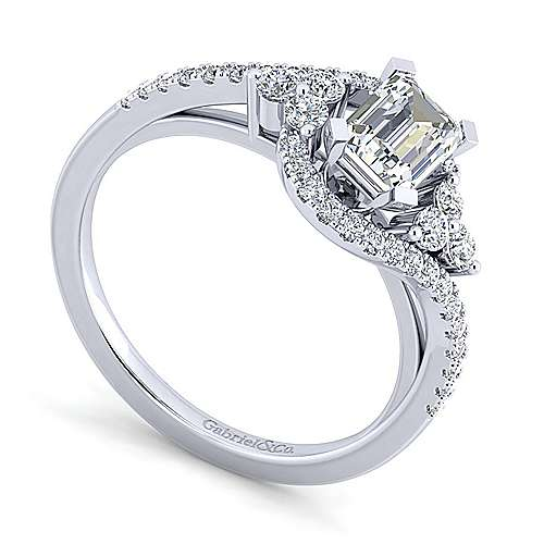 Izzie 14k White Gold Emerald Cut Bypass Engagement Ring angle 3